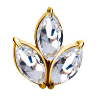 18K Gold Triple Marquise Jewelled End with Swarovski Zirconia - Steelhybrid