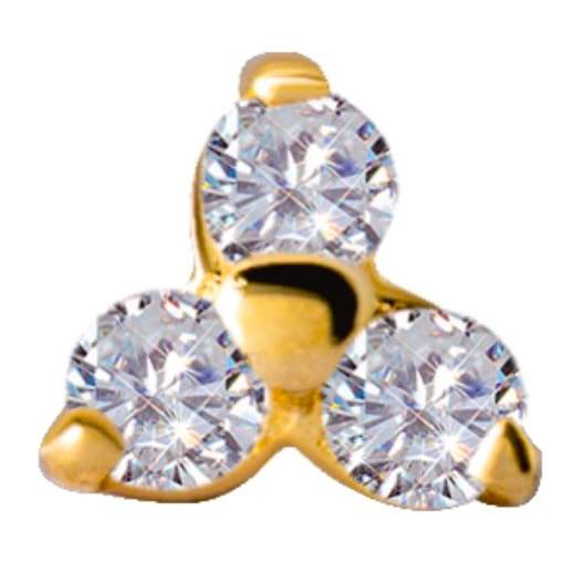 18K Gold Trinity Jewelled End with Swarovski Zirconia - Steelhybrid