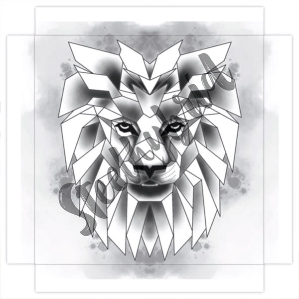 Art Print Canvas Digital Water Colour Geometric Lion Painting