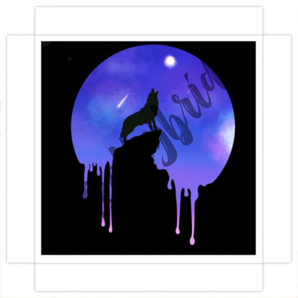 Art Print Canvas Digital Water Colour Wolf moon Painting
