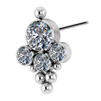 Titanium Threadless End with 1 Tri-bead Cluster 4 Swarovski Zirconia bezel set - Steelhybrid