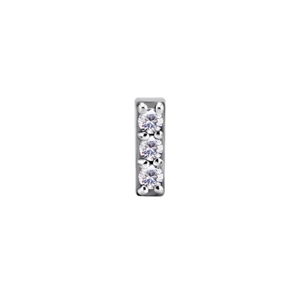 Nickel Free Threadless 3 Gem Pave Bar (Cobalt Chromium)
