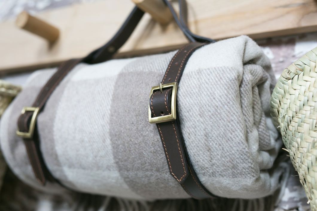 Picnic Blanket Leather Handle Strap