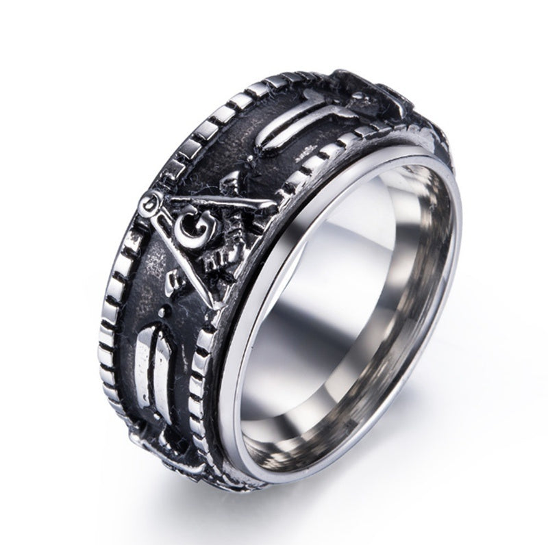 Men's Spinner Ring Gold Black Freemason Rings Stainless Steel Fashion Masonic Rotate Band Ring for Men Jewelry