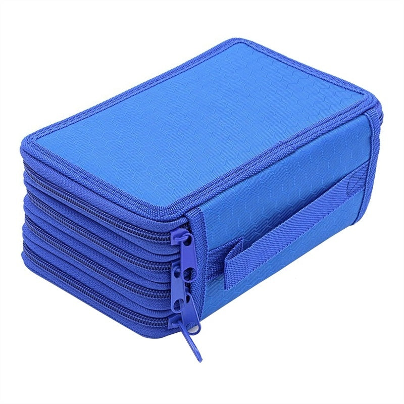 72 Slots 4 Layer Pencil Holder Storage Bag with Zippers for School Office Student