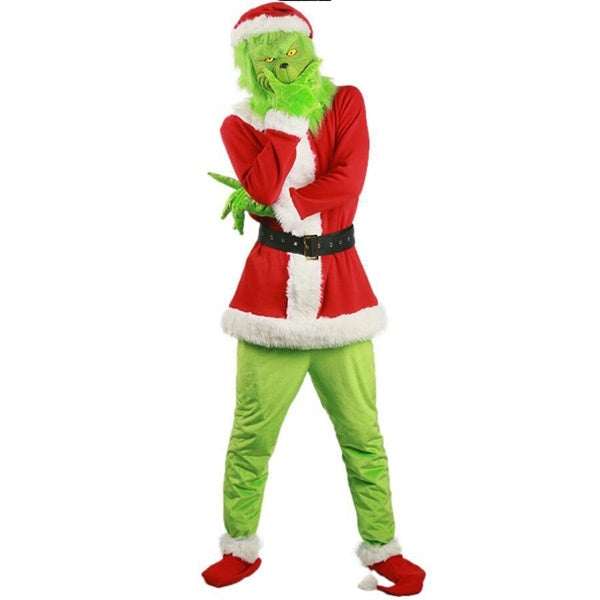Grinch Santa Costume Christmas Cosplay Costume Latex Grinch Mask Decorations(Mask Not Included)