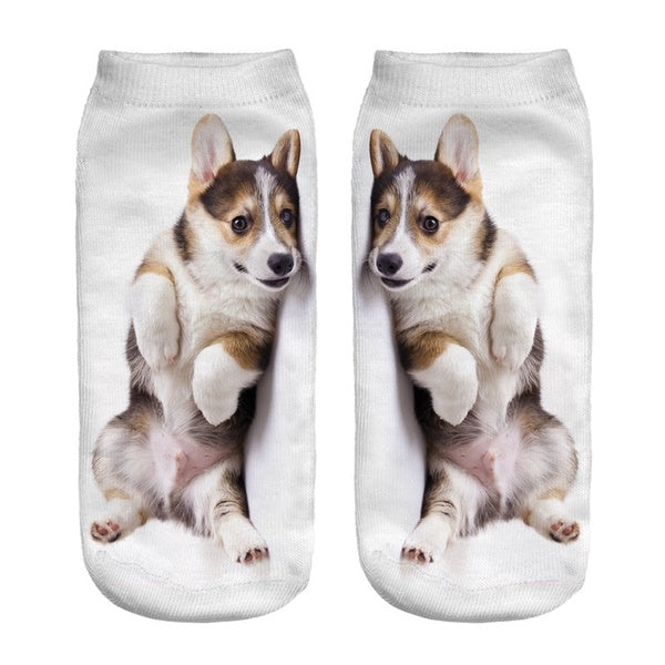 Corgi Puppy Cute Funny Animal Print Short Socks for Women Girls Breathable Low Cut Ankle Boat Socks