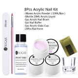 UR SUGAR 8Pcs Acrylic Nail Kit Acrylic Powder Acrylic Liquid Nail Tool Nail Extension DIY Nail Design French  Nail Acrylic Powder Liquid Kit
