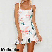 Load image into Gallery viewer, Women Stretchy Camisole Spaghetti Strappy Bodycon Mini Ruffle Dress In Multicolor Black White Red Pink Yellow Blush