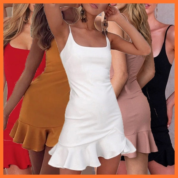 Women Stretchy Camisole Spaghetti Strappy Bodycon Mini Ruffle Dress In Multicolor Black White Red Pink Yellow Blush