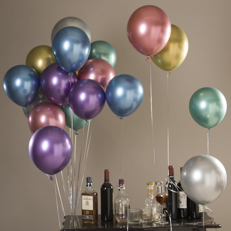 5/10/15pcs 12inch New Glossy Metal Pearl Latex Balloons Thick Chrome Metallic Balloon Gold Silver Color Inflatable Air Balls Globos Wedding Birthday Party Decor Baby Shower Kid Toy