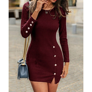 Women fashion Round Neck Long Sleeve Slim Fit Dress Side Split Dress Female Package Hip Party Dress