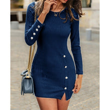 Load image into Gallery viewer, Women fashion Round Neck Long Sleeve Slim Fit Dress Side Split Dress Female Package Hip Party Dress