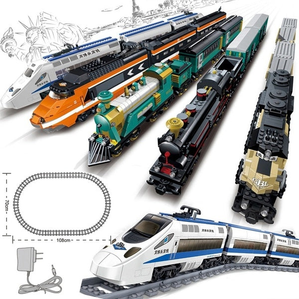 Train Electric Battery Powered Set Rail Blocks Railways Educational Building Bricks Children Toys