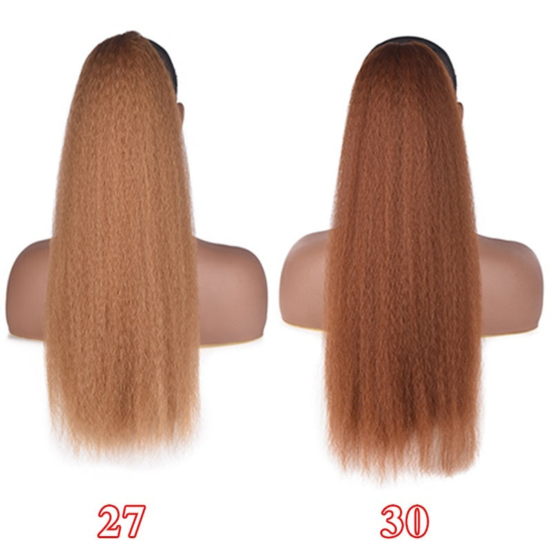 22Inch Kinky Straight Ponytail With Two Combs Kanekalon Heat Resistant Synthetic Hair Extensions