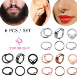TOPBRIGHT@ 6pcs 16G Unisex 316L Stainless Steel Nose Septum Ring Hoop Hinged Segment Ring Mixed Styles Septum Clicker Ear Cartilage HelixBody Piercing
