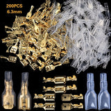 200PCS 6.3mm Female/Male Spade Terminals Wire Connectors Crimp Terminals Crimp With Transparent Insulating Sleeves