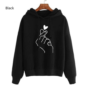 Women BTS Hoodies Casual Printed Heart Long Sleeve Solid Color Hoodie Finger Heart Hooded Pullover Sweater Plus Size