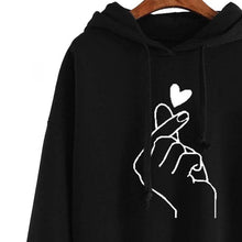 Load image into Gallery viewer, Women BTS Hoodies Casual Printed Heart Long Sleeve Solid Color Hoodie Finger Heart Hooded Pullover Sweater Plus Size