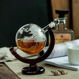 Glass Decanter Gift World Globe Decanter Whiskey 850ml Decanter with Wood Stand For Spirits, Wine, Liquor Decanter Etched Globe With Hand Crafted Glass -Sailing Ship