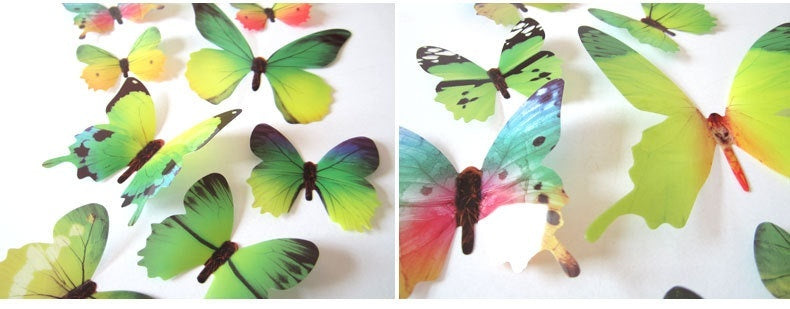 12 Pack New Print Butterfly Beautification Ornament 3d Art Wall Sticker