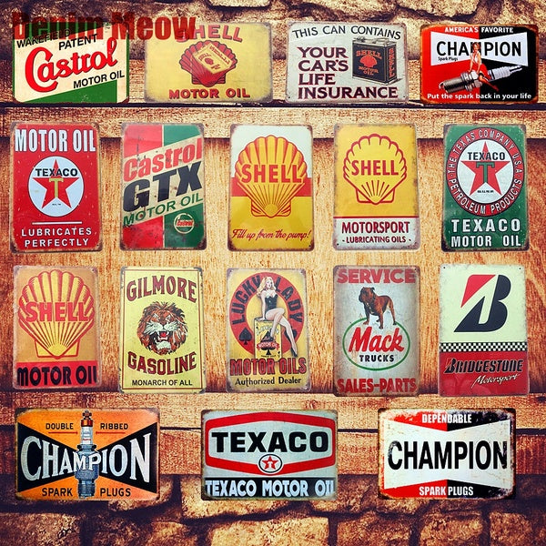 24 Style Motor Oil Plaque Vintage Metal Tin Signs Home Bar Pub Garage Gas Station Decorative Iron Plates Wall Stickers Art Poster(8 X 12 Inches)