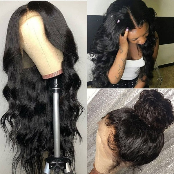 14'~26' Lace Frontal Wig With Baby Hair Brazilian Body Wave Wig High Temperature Fiber Hair Wigs