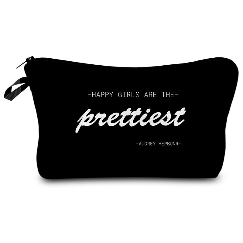 Skull 3D Printed  Black Cool Cosmetic Bags Makeup Storage Women letter  Makeup Bag Beauty Gifts