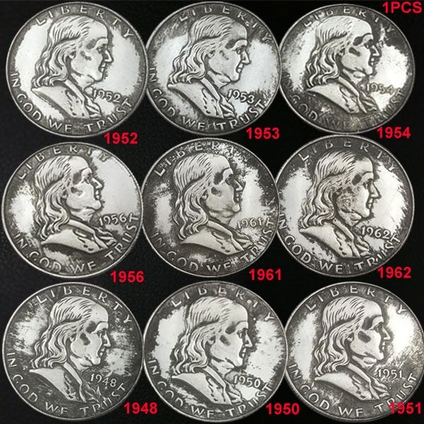 1PCS 1948 To 1962 The Liberty Bell Coins Collection 31MM American Can Blow The Silver Dollar Coin