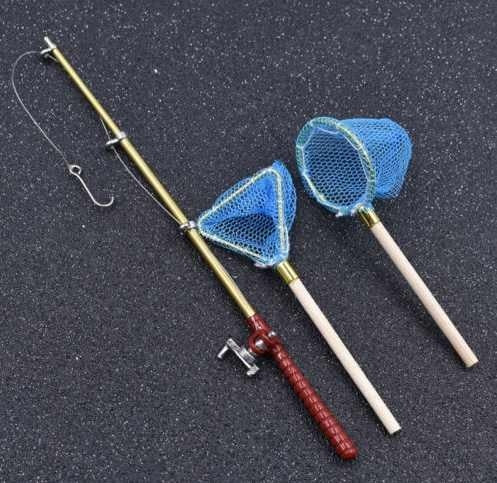 1 Set Model fishing Rod + Round Net + Triangle Net For Miniature 1:12 Dollhouse Doll House Decor