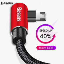 Load image into Gallery viewer, Baseus 90 Degree Micro USB Cable Fast Charging Charger Mobile Phone Data Wire Cord Microusb Cable For Samsung Xiaomi Android 2m
