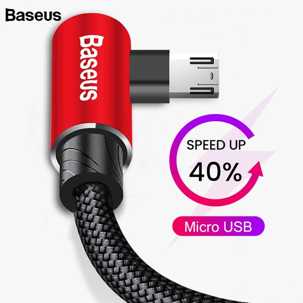 Baseus 90 Degree Micro USB Cable Fast Charging Charger Mobile Phone Data Wire Cord Microusb Cable For Samsung Xiaomi Android 2m
