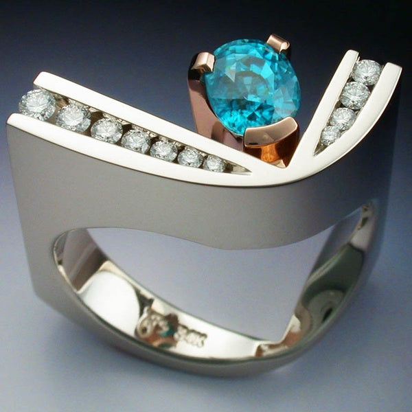 Unique Design 925 Sterling Silver Rose Gold Ring with Blue Zircon & Diamonds Engagement Wedding Rings Fashion Accessories for Women Size 5 6 7 8 9 10
