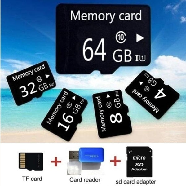 2019 4GB 8GB 16GB 32GB 64GB  High Speed  Micro Card Class10 Flash Memory + SD Card Reader + Adapter Reader