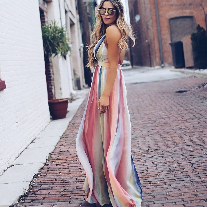 Women Halter Long Sling Dress Swing Print Boho Dress