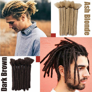 S-NOILITE Handmade Synthetic Dreads Black Dreadlocks Extensions 15/30CM Fashion Hip-Hop Style 5 Strands/Pack Synthetic Braiding Hair for Men and Women