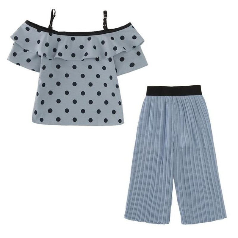 2pcs Girls Summer Outfits Blue Polka Dot Print Off The Shoulder Tops + Trousers Clothing Sets