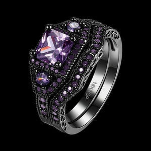 Couple Ring - Men's 316L Stainless Steel Ring and Women's  5mm Amethyst 2pcs Women's 925 Sterling Silver Blue Sapphire Bridal Engagement Wedding