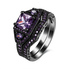 Load image into Gallery viewer, Couple Ring - Men's 316L Stainless Steel Ring and Women's  5mm Amethyst 2pcs Women's 925 Sterling Silver Blue Sapphire Bridal Engagement Wedding