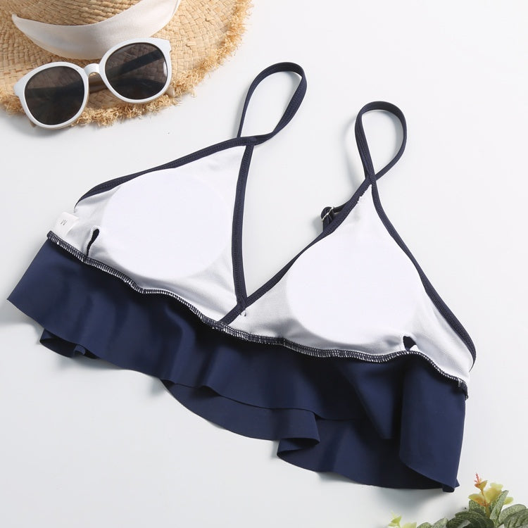 Two Pieces Bathing Suits Top Ruffled Racerback with High Waisted Bottom Tankini Set
