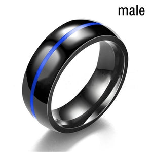 5-13 Couple Ring - His Black Titanium Steel Men''s Ring and Her Blue Sapphire Women''s Wedding Engagement Ring Set