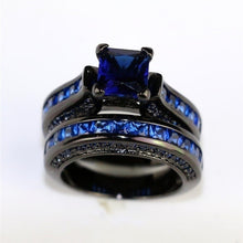 Load image into Gallery viewer, 5-13 Couple Ring - His Black Titanium Steel Men''s Ring and Her Blue Sapphire Women''s Wedding Engagement Ring Set