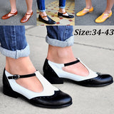 Fashion Women's Mary Janes Shoes Leather Vintage Shoes Female Low Heel Single Shoes Ladies Breathable Brogues Shoes Plus Size 34-43
