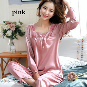 Summer Fashion Women Two Pieces Nightgown Soft Silk Casual Pajama Sets Sexy Sleepwear(6 Colors)