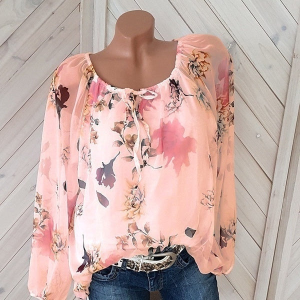 S-5XL Women Fashion Trendy Long Sleeve Off Shoulder Tops Lace Up Floral Print Blouse Plus Size Shirts