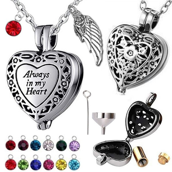 Titanium Steel Funeral Cremation Heart Pendant Angel Wing Birthstone Keepsake Urn Necklace For Ashes Memorial Jewelry Mementos With Funnel Kit