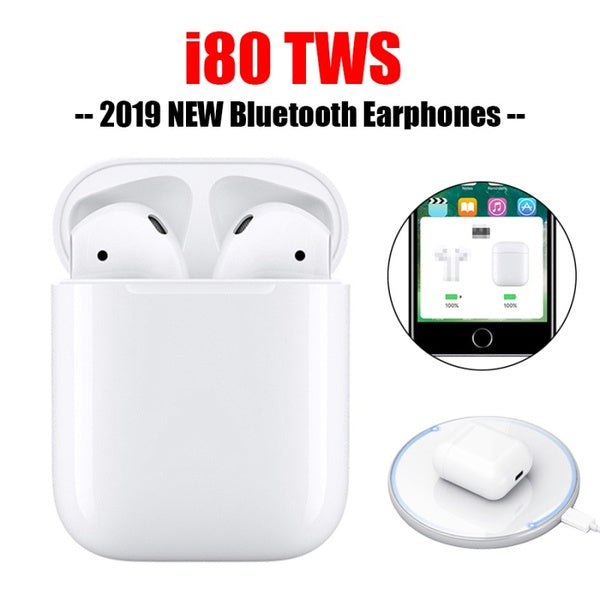 i80 TWS 1:1 Replica Air 2 Separate Use Wireless Earphone QI Wireless Charging Earphones