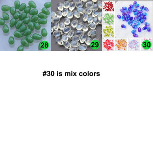 Water Drop Shape Crystal Czech Glass Beads for Jewelry Making 6*9 Cross Hole Gradient Colors Loose Spacer Beads DIY Ornaments Materials Decoration Accessories