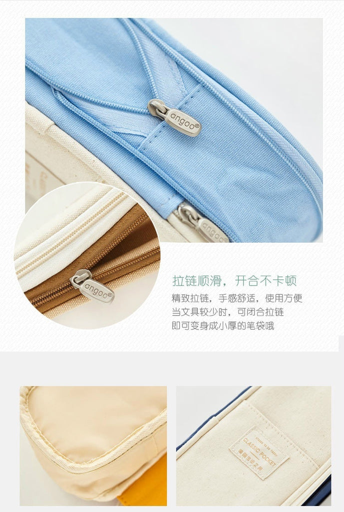 Kawaii Pencil Case Macaron Color Canvas Stretch Double Layer Large Capacity Pencil Box School Stationery