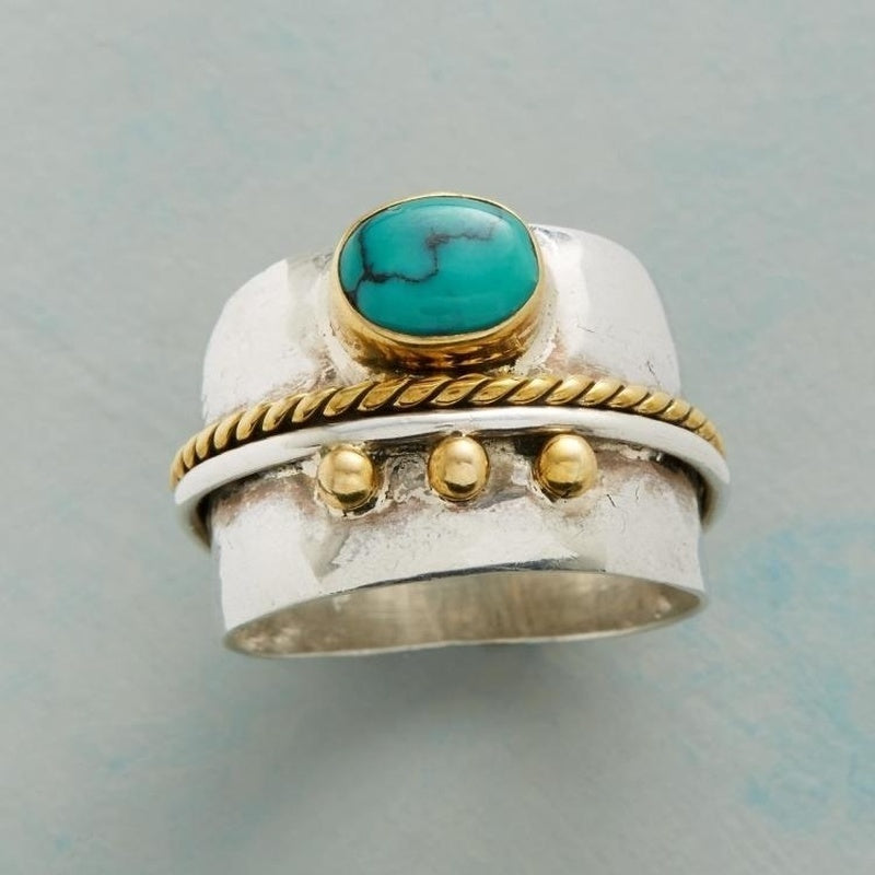 Vintage Bohemian Two Tone 925 Sterling Silver Yellow Gold Turquoise Ring
